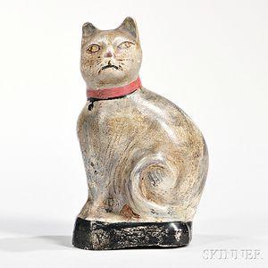 Small Painted Chalkware Cat Figure
