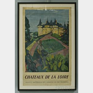 "Framed French National Railways Company ""Chateaux de la Loire"" Travel Poster"