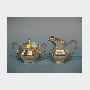 Reed and Barton Sterling Silver Creamer and Covered Sugar Set.