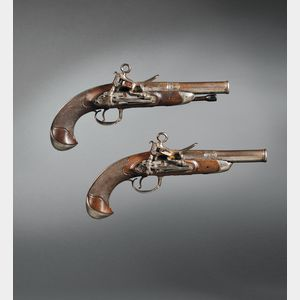 Pair of Spanish Silver-mounted Miquelete Pistols