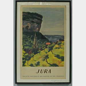 "Framed French National Railways Company ""Jura"" Travel Poster"