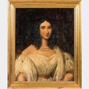 American/European School, 19th Century      Portrait of a Woman in White
