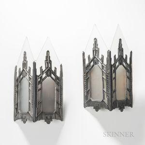 Pair of Art Deco Skyscraper Gothic Wall Sconces