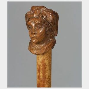 """French Defense """"Flick Stick"""" Carved Wood Cane"""