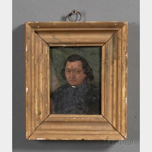 American School, 19th Century      Portrait Miniature of a Clergyman.