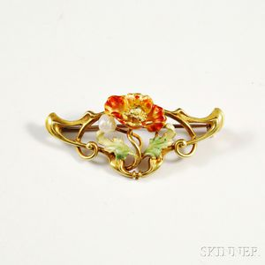 Art Nouveau 14kt Gold, Pearl, and Enamel Brooch