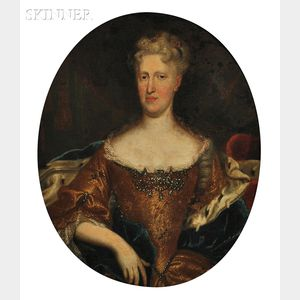 School of Peter Lely (Dutch, 1618-1680)    Portrait of an Elegant Woman with an Ermine-lined Cape