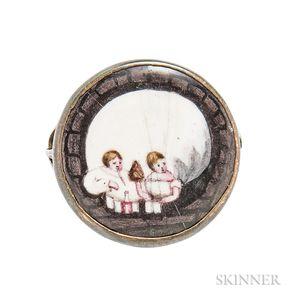 Rare and Unusual Enamel Memento Mori Ring