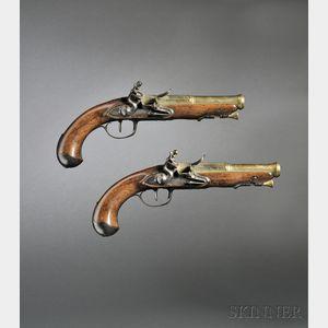 Pair of French Brass Barrel Flintlock Pistols