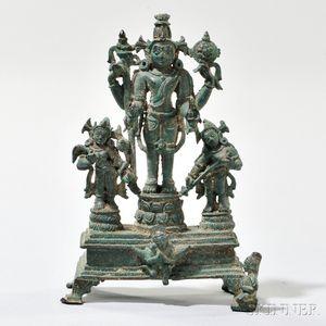 Bronze Statue of Vishnu with Bhudevi and Shridevi
