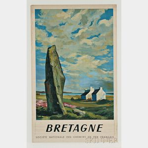 "Framed French National Railways Company ""Bretagne"" Travel Poster"
