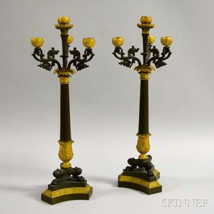 Pair of Gilt and Bronzed Metal Four-light Candelabra