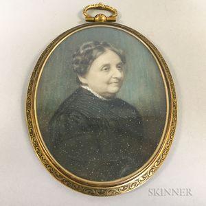 Framed Portrait Miniature of an Elderly Woman