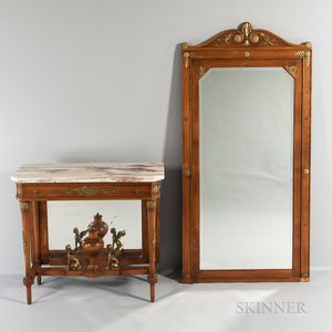 Empire-style Marble-top Ormolu-mounted Console Table with Mirror