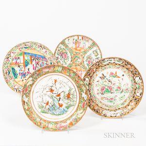 Four Enameled Export Plates