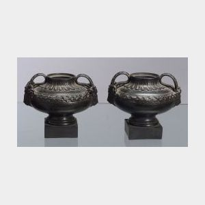 Pair of Wedgwood and Bentley Black Basalt Vases