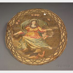 Continental Needlework and Painted Silk Picture of Madonna on High
