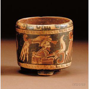 Pre-Columbian Polychrome Tripod Cylinder