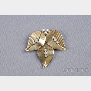 14kt Gold and Diamond Leaf Brooch, Tiffany & Co.