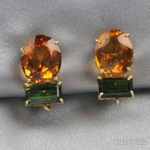18kt Gold Gem-set Earclips