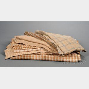 Thirteen Pieces of Homespun Linen Fabric