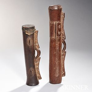 Two Massim Carved Wood Finger Drums