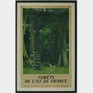 "Framed French National Railways Company ""Forêts de L'ile de France"" Travel Poster"