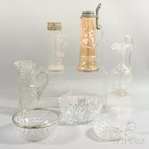 Seven Cut and Etched Glass Tableware Items