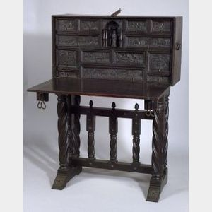 Spanish Renaissance-style Wrought Iron Mounted Oak Vargueno