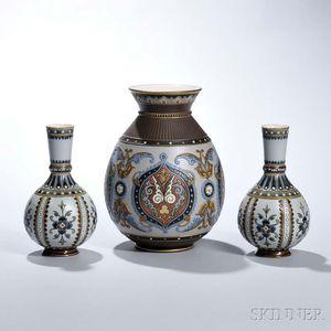 Three Mettlach Etched Stoneware Vases