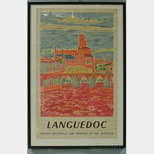 "Framed French National Railways Company ""Languedoc"" Travel Poster"