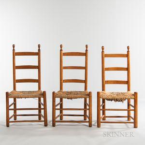 Three Shaker Ladder-back Chairs