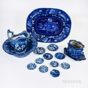 Fifteen Staffordshire Blue and White Transfer-decorated Tableware Items