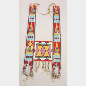 Northern Plains Beaded Hide and Cloth Martingale