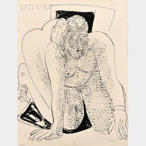 Max Beckmann (German, 1884-1950)      Kriechende Frau (Crawling Woman)