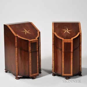 Two Georgian-style Inlaid Knife Boxes