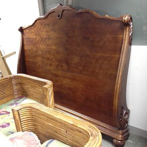 Contemporary Rococo-style Carved Mahogany Veneer King-size Sleigh Bed.