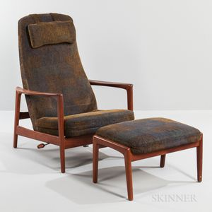 Folke Olsen for Dux Reclining Teak Lounge Chair and Ottoman