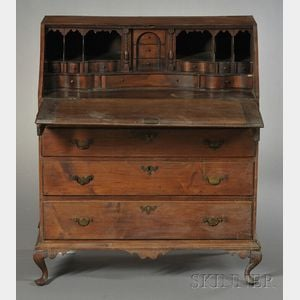 Queen Anne Carved Maple and Cherry Slant-lid Desk