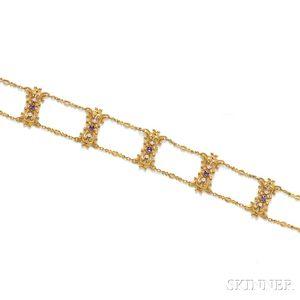 Art Nouveau 14kt Gold, Amethyst, and Pearl Choker, Bippart, Griscom & Osborn