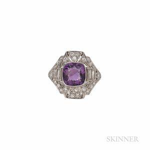 Art Deco Platinum, Amethyst, and Diamond Ring
