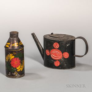 Painted Tin Teapot and Cannister