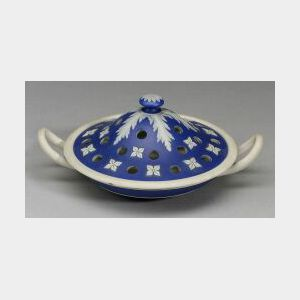 Wedgwood Dark Blue Jasper Dip Potpourri Low Bowl and Cover