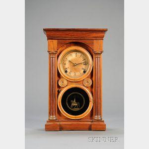 """Mahogany """"Doric"""" Variation Shelf Clock by E. Ingraham and Company"""