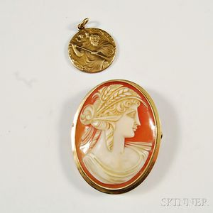 Cameo Brooch and 9kt Gold St. Christopher Medal
