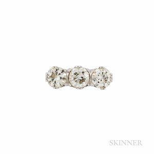 Art Deco Platinum and Diamond Three-stone Ring