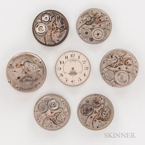 Seven American Watch Movements and Dials