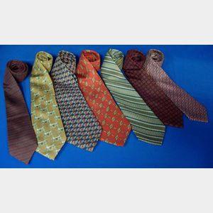 Seven Vintage Hermes Silk Men's Neckties