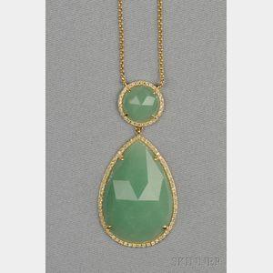 14kt Gold, Aventurine, and Diamond Pendant