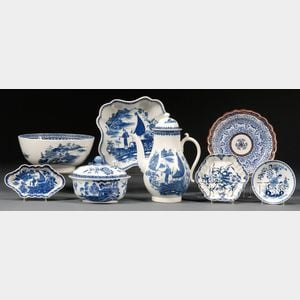 Eight Blue and White English Ceramic Table Items